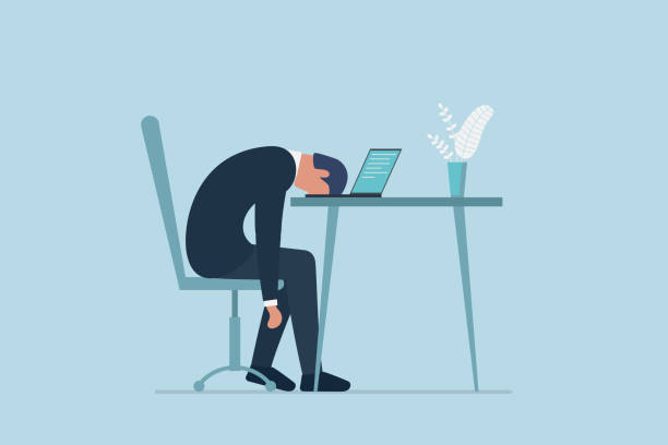 illustrazioni stock, clip art, cartoni animati e icone di tendenza di professional burnout syndrome. exhausted sick tired male manager in office sad boring sitting with head down on laptop. frustrated worker mental health problems. vector long work day illustration - noia