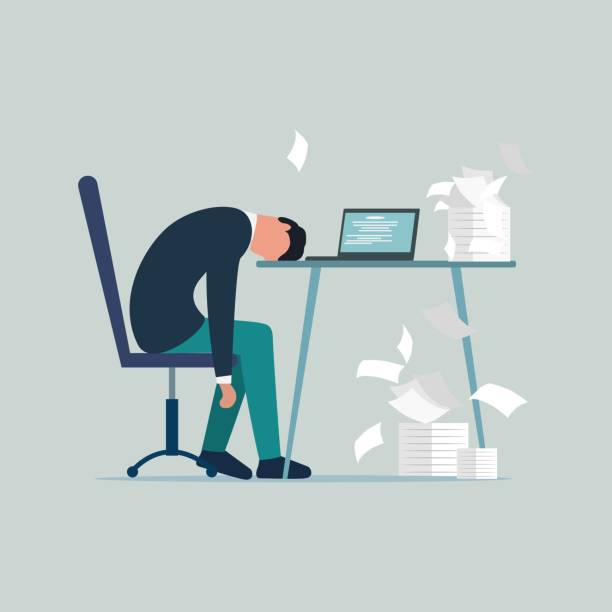 Professional burnout syndrome. Exhausted sick tired male manager in office sad boring sitting with head down on laptop. Frustrated worker mental health problems. Vector long work day illustration Professional burnout syndrome. Exhausted sick tired male manager in office sad boring sitting with head down on laptop. Frustrated worker mental health problems. Vector long work day illustration mental burnout stock illustrations