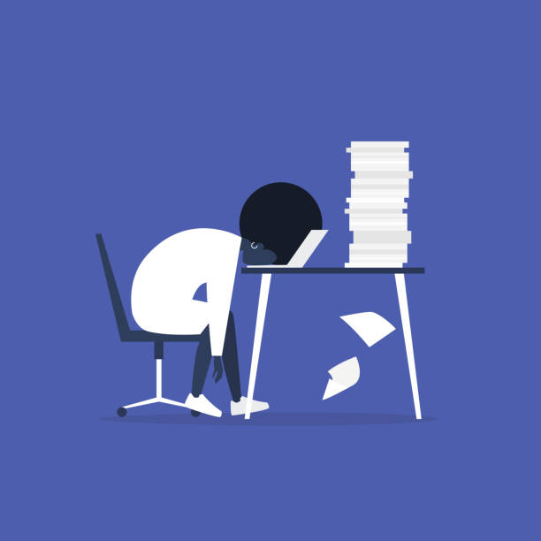 Professional burnout. Young exhausted black female manager sitting at the office. Long working day. Millennials at work. Flat editable vector illustration, clip art Professional burnout. Young exhausted black female manager sitting at the office. Long working day. Millennials at work. Flat editable vector illustration, clip art mental burnout stock illustrations