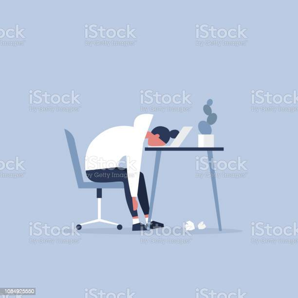 Professional burnout young exhausted female manager sitting at the vector id1084925550?b=1&k=6&m=1084925550&s=612x612&h=nezmpqidb9us81mfkoxanb pl9wphuordsy4yelf9r0=