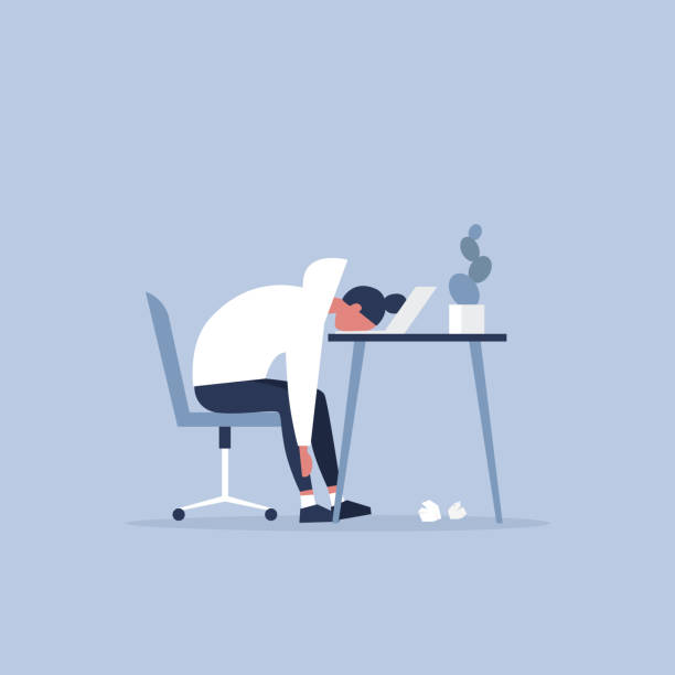 Professional burnout. Young exhausted female manager sitting at the office. Long working day. Millennials at work. Flat editable vector illustration, clip art Professional burnout. Young exhausted female manager sitting at the office. Long working day. Millennials at work. Flat editable vector illustration, clip art mental burnout stock illustrations