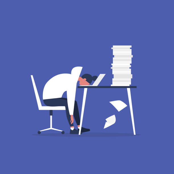 전문적인 소진. 젊은 지친 여성 매니저는 사무실에 앉아. 긴 근무 일. 밀레니엄 세대는 직장에서 일하고 있습니다. 플랫 편집 가능한 벡터 일러스트레이션, 클립 아트 - burnout stock illustrations
