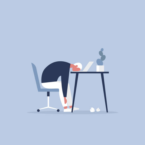 professionelle burnout. young erschöpft manager im büro sitzen. langen arbeitstag. millennials bei der arbeit. flach bearbeitbares vektor-illustration, clipart - frustration stock-grafiken, -clipart, -cartoons und -symbole