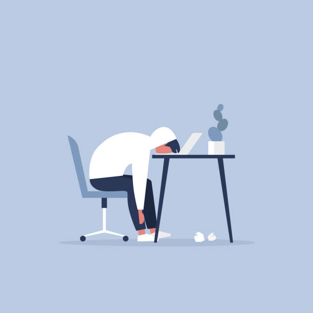 Professional burnout. Young exhausted manager sitting at the office. Long working day. Millennials at work. Flat editable vector illustration, clip art Professional burnout. Young exhausted manager sitting at the office. Long working day. Millennials at work. Flat editable vector illustration, clip art mental burnout stock illustrations
