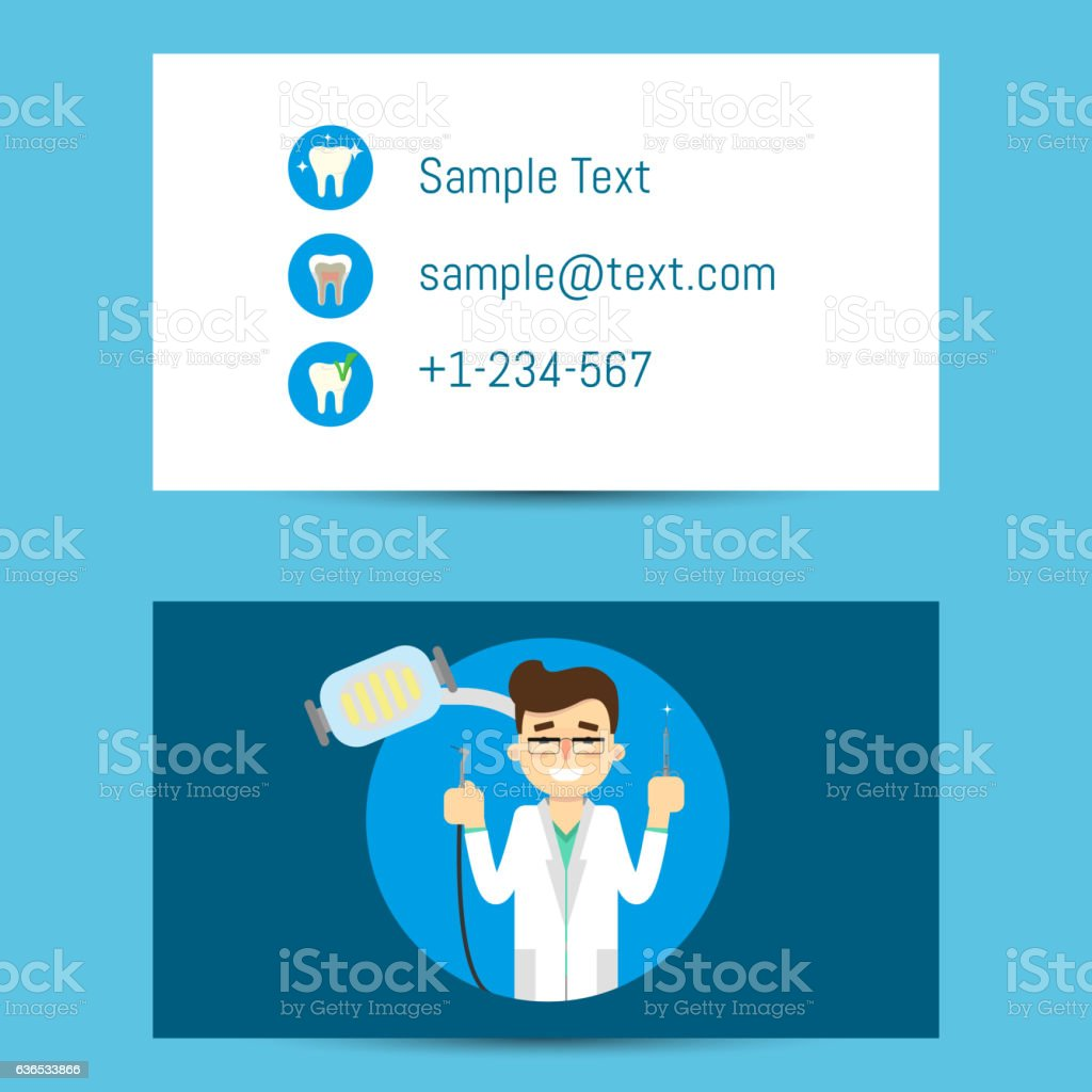 Professional business card for dentists vector art illustration