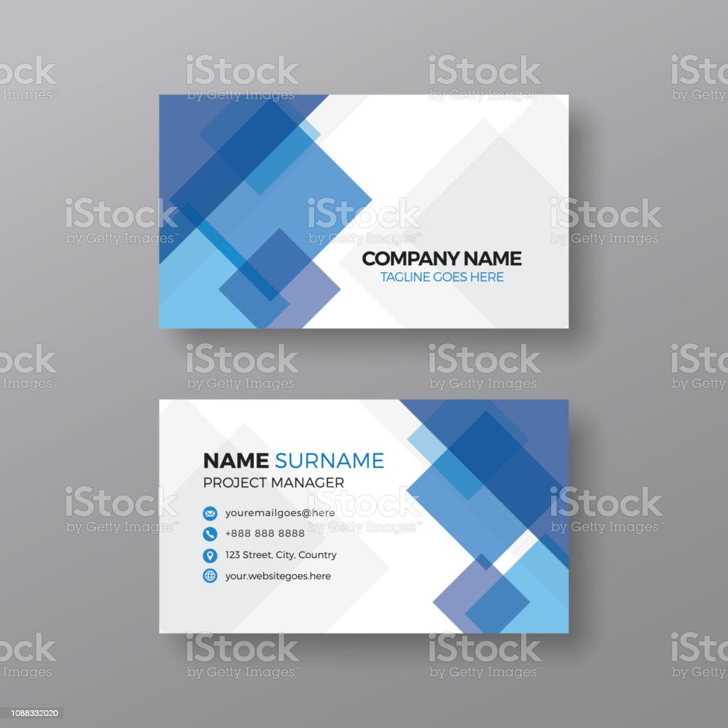 Business Card Design 2020.Professional Business Card Template With Abstract Blue