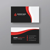 Professional business card template with red details