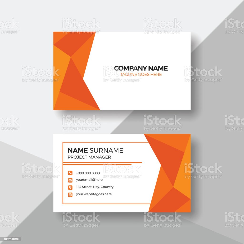 Carte De Visite Professionnelle Avec Orange Geometrique Cliparts