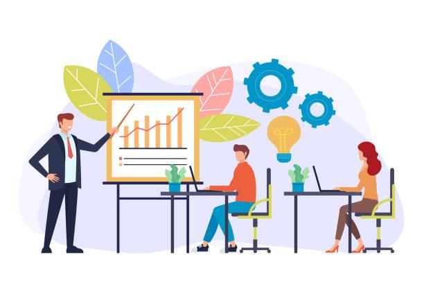 Professional business coach trainer speaker teaching training class. Seminar presentation concept. Vector flat cartoon graphic design illustration vector art illustration