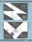 Professional business trifold flyer, template or corporate brochure with front and back page presentation.
