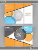 Professional business trifold, flyer, template or corporate brochure with front and back presentation for your company.