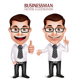 Set of 3D Realistic Professional Business Man Character with Pointing and OK Hand Gesture Isolated in White Background. Vector Illustration