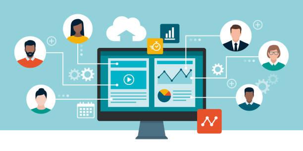 Professionelle Geschäftsleute, die aus der Ferne online arbeiten – Vektorgrafik