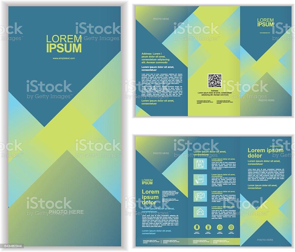 Professional business three fold brochure template C vector art illustration