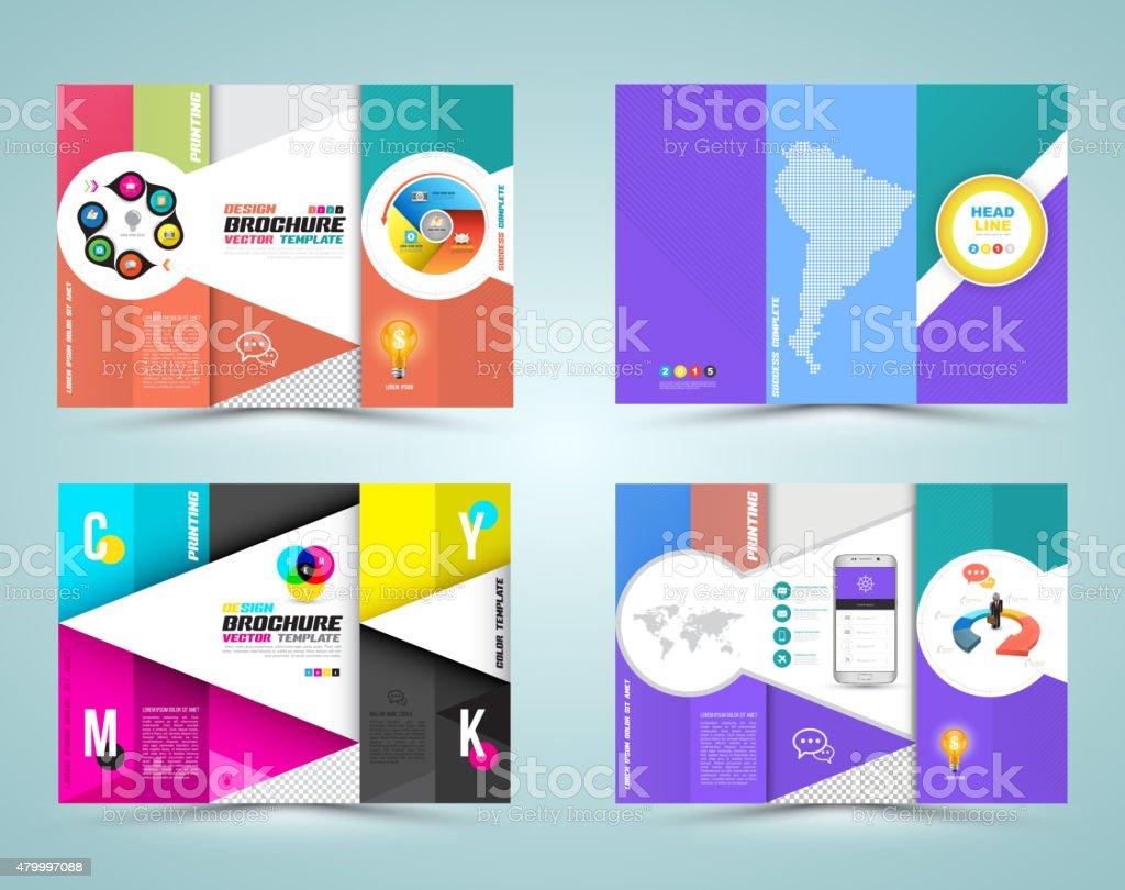 professional business three fold flyer template stock vector art