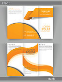 Professional two page business trifold, flyer, template or brochure design in white and orange color.