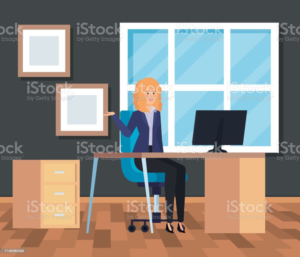 Professional Businesswoman With Computer In The Desk Office Stock  Illustration - Download Image Now
