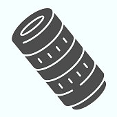 Professional camera lens solid icon. Camera objective vector illustration isolated on white. Professional optical objective glyph style design, designed for web and app. Eps 10