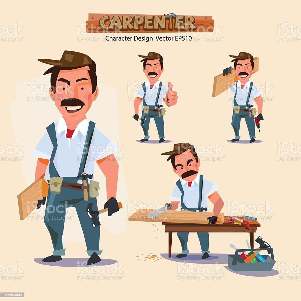 Profesional carpenter en diversas acciones con typographic. caree - ilustración de arte vectorial