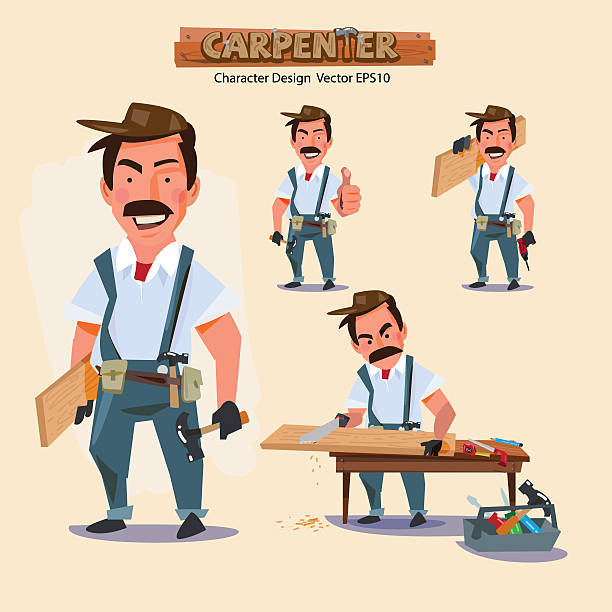 professional carpenter in various action with typographic. caree - carpenter stock illustrations, clip art, cartoons, & icons