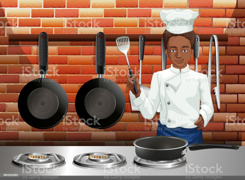A Professional Chef Cooking Food - Royalty-free Adult stock vector