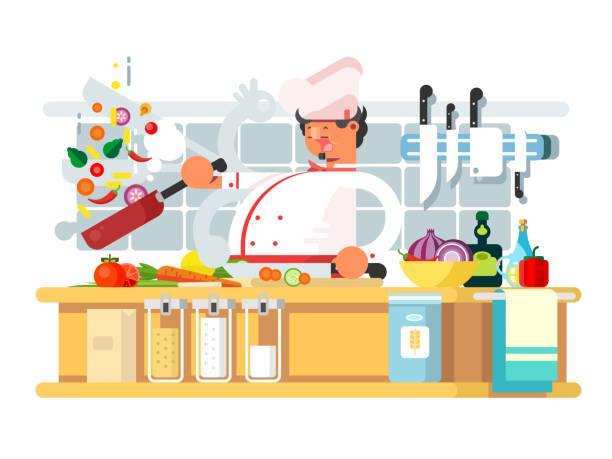 bildbanksillustrationer, clip art samt tecknat material och ikoner med professionell kock förbereder i köket - arbeta köksbord man