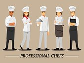 Professional chef set ,Vector illustration cartoon character.