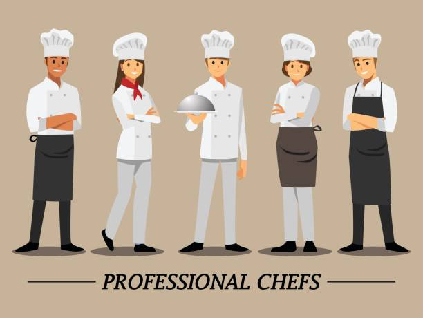 professional chef set ,vector illustration cartoon character. - chef stock illustrations, clip art, cartoons, & icons