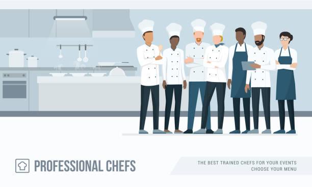 profi-köche in der küche - gewerbliche küche stock-grafiken, -clipart, -cartoons und -symbole