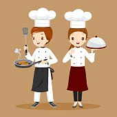 Professional Chefs With Foods In Hands