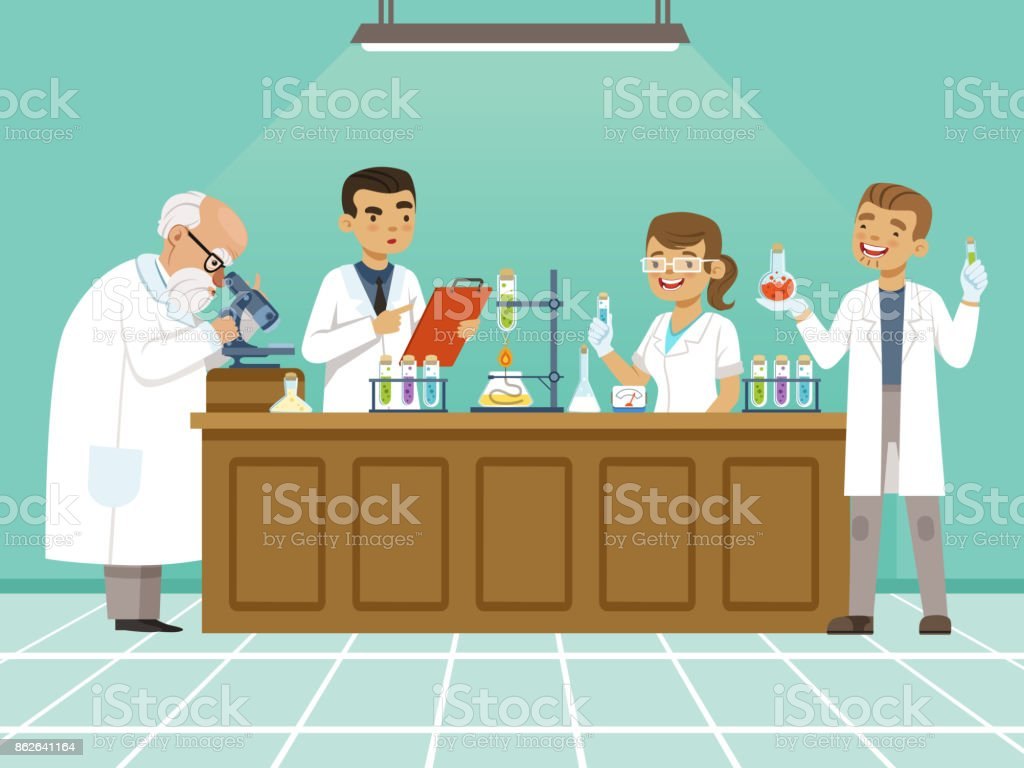 Professional chemists in their laboratory makes different experiments on the table. Male and female medical workers vector art illustration
