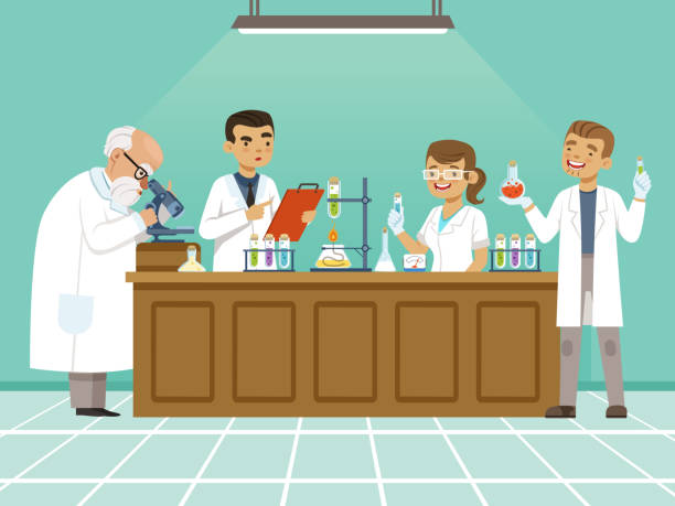 ilustrações de stock, clip art, desenhos animados e ícones de professional chemists in their laboratory makes different experiments on the table. male and female medical workers - scientist