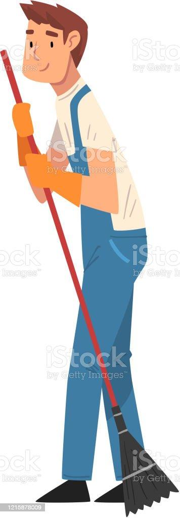 전문 청소 남자 청소 바닥, 남성 노동자 캐릭터 옷을 입고, 푸른 바지와 고무 장갑, 청소 회사 직원 벡터 일러스트 - 로열티 프리 가사-집안일 벡터 아트