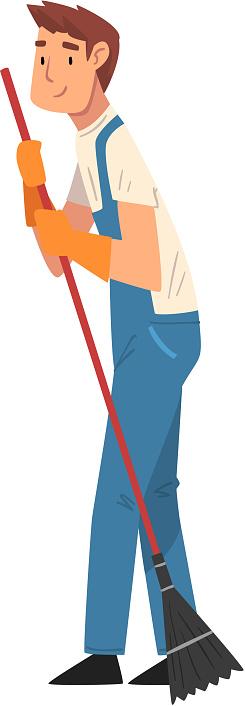 전문 청소 남자 청소 바닥 남성 노동자 캐릭터 옷을 입고 푸른 바지와 고무 장갑 청소 회사 직원 벡터 일러스트 가사-집안일에 대한 스톡 벡터 아트 및 기타 이미지