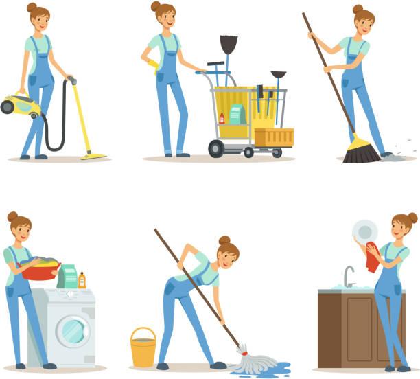 stockillustraties, clipart, cartoons en iconen met professionele schoonmaak service. vrouw schoner maken sommige huishoudelijk werk - vrouw schoonmaken