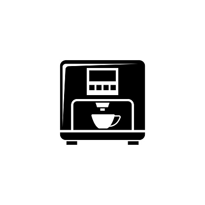 Professional Coffee Machine, Latte Maker. Flat Vector Icon illustration. Simple black symbol on white background. Professional Coffee Machine, Maker sign design template for web and mobile UI element.