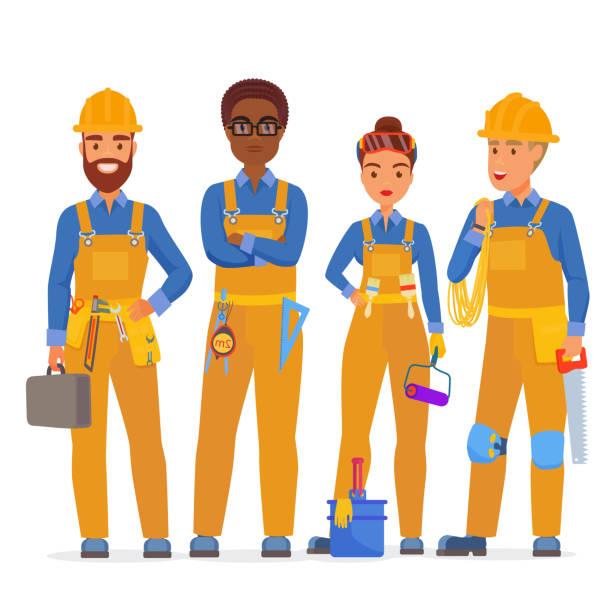 professionelle mitarbeiter spezialisten zeichen bauteam. freundliche mitarbeiter in arbeitskleidung uniiform zusammenstehen. flache vektor-illustration. - bauarbeiter stock-grafiken, -clipart, -cartoons und -symbole