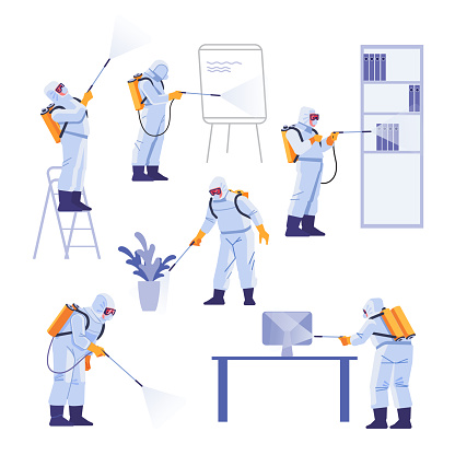 Professional contractors doing pest control at office. Coronavirus protection. Hazmat team in protective suits decontamination during virus outbreak. Cartoon vector illustration