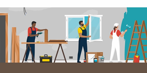 Professional contractors working on a home renovation
