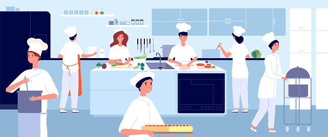Professional cooking kitchen. Restaurant cook, commercial food industry. Flat chef and waiter. Cafe cooking, hospitality vector illustration