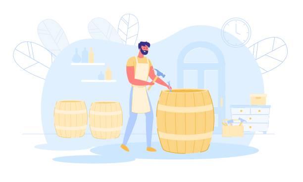 illustrazioni stock, clip art, cartoni animati e icone di tendenza di professional cooper in apron making wooden barrel - uomo artigiano gioielli
