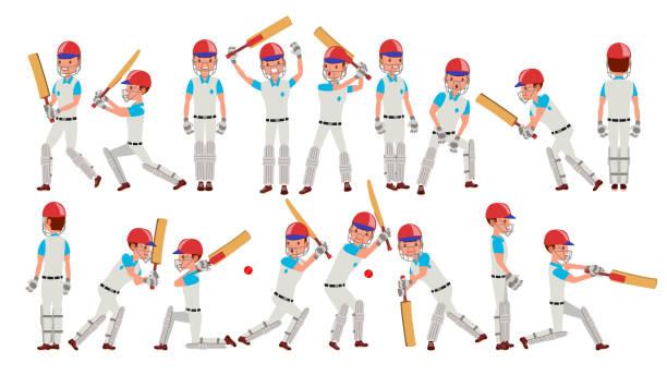 professionelle cricket-spieler-vektor. ausgestatteten spieler. pads, fledermäuse, helm. isoliert auf weißem cartoon character illustration - cricket stock-grafiken, -clipart, -cartoons und -symbole