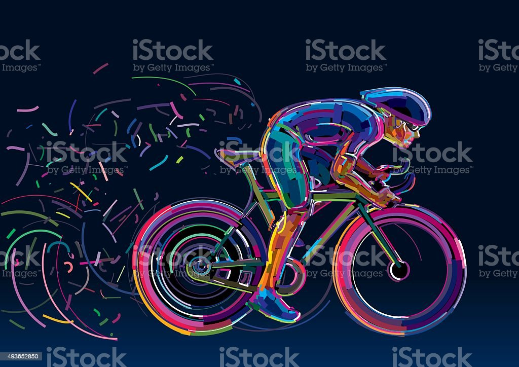Professional cyclist involved in a bike race. vector art illustration