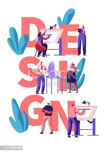 Professional Designer Teamwork Poster. Man and Woman Character Draw and Design Building Layout. Creative Apartment Planning. Modern Interior Concept Flat Cartoon Vector Illustration