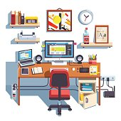 Professional designer working desk with opened site project Big table with laptop computer and big display accompanied by drawing pen tablet. Flat style color modern vector illustration.