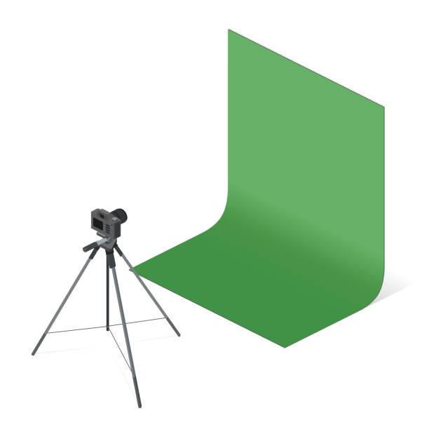 stockillustraties, clipart, cartoons en iconen met professionele digitale fotocamera. fotostudio geïsoleerd op een witte achtergrond. - green screen