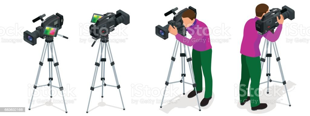 Professional digital video camera and Cameraman. Flat 3d isometric illustration for infographics and design. Camcorders and Equipment. vector art illustration