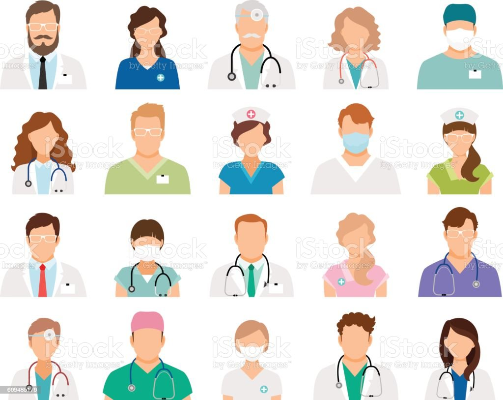 Professional doctor avatars vector art illustration