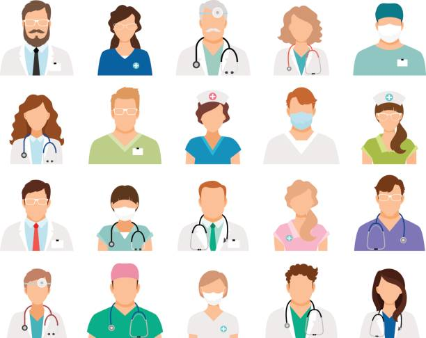 illustrazioni stock, clip art, cartoni animati e icone di tendenza di professional doctor avatars - personale medico