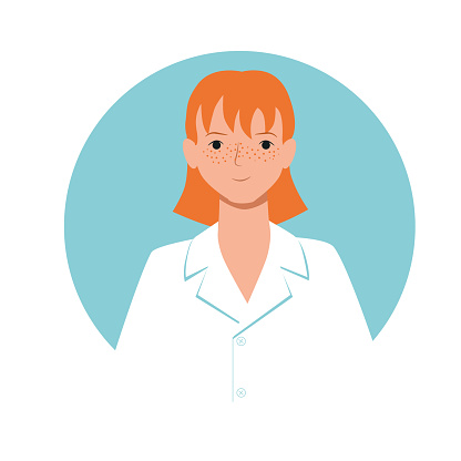 Professional doctor nurse medical specialist avatar for social media website game. Young redhead woman with freckles in a white robe. Stock vector flat illustration isolated on white
